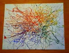 string art.  pour out colors onto plate.  put string in colors then on canvas and move it around.