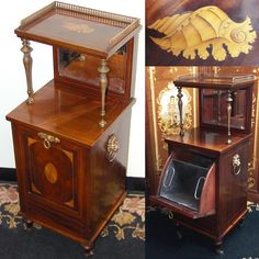 """Rare Antique Victorian 37.5"""" Cabinet Style Rosewood Coal Scuttle or Purdonium, Seashell Marquetry Inlay, Lion & Ring Handles, Beveled Mirror"""