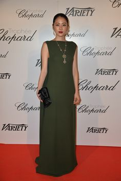Masami Nagasawa in a Valentino gown from the Fall 2015 collection at the Chopard Trophy event, on May 15th, 2015.