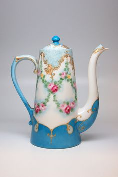 Fabulous French Tea Pot Decorated with Hand by TheGardenHome