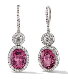 Rosendorff Amore Collection Pink Sapphire and Diamond Drop Earrings: