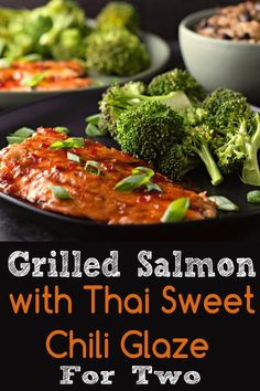 This Grilled Salmon with Thai Sweet Chili Glaze is easy with just 4 ingredients, and delicious with just a hint of spicy flavor. The salmon is marinated in a sweet chili, ground ginger and soy sauce mixture, grilled and then topped with a sweet chili, ginger and soy sauce glaze. This dish makes a perfect lunch, dinner or romantic date night meal for two. #grilled #salmon #SweetChili #Thai #seafood #DinnerForTwo #LunchForTwo #DateNight #lowcarb via @ZonaCooks Grilled Salmon Recipes, Tilapia Recipes, Fish Recipes, Seafood Recipes, Asian Recipes, Healthy Recipes, Indonesian Recipes, Grilled Fish, Orange Recipes
