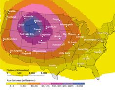 Supervolcano blast would blanket U. in ash - Simulation of Yellowstone eruption shows extended reach of massive volcanoes. Pictured: map of simulated supervolcano eruption in North America ~~ USGS, ADAPTED BY S. Earth And Space Science, Science And Nature, Yellowstone Volcano, Idaho Springs, Plate Tectonics, Rapid City, Science News, Natural Disasters, Wyoming