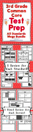 3rd Grade Common Core Math Test Prep - Help your students get ready for testing! This resource has a practice page for each of the 3rd grade Common Core Standards and a comprehensive review of each domain. Wow! $