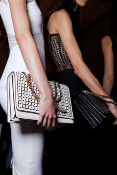 Get an insider look of what went on backstage at the Victoria Beckham Spring 2013 Ready-to-Wear runway show. Victoria Beckham, Fashion Bags, Love Fashion, Fashion Beauty, Quirky Fashion, Female Fashion, Fashion Handbags, Chanel Boy Bag, Coco Chanel