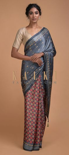 Buy Online from the link below. We ship worldwide (Free Shipping over US$100)  Click Anywhere to Tag Metal Grey Half And Half Saree With Printed Floral Buttis And Multi Colored Floral Jaal Online - Kalki Fashion Metal grey half and half saree in satin blend with printed floral buttis on the pallu.The pleats enhanced with multi colored floral jaal.