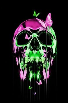 Pink and green melting skull