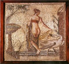 Roman Mosaic  --  Leda & The Swan  (Jupiter & Zues)  2nd Century CE  --  Kouklia Museum, Cyprus