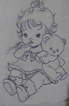 H                                                                                                                                                                                 Mais Baby Coloring Pages, Adult Coloring, Coloring Books, Baby Embroidery, Embroidery Stitches, Embroidery Patterns, Art Drawings Sketches, Cartoon Drawings, Painting Patterns