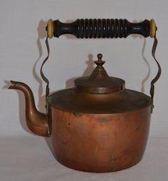 Vintage Swedish Copper Teapot-Wood Handle-Goose Neck Spout-Lagersted ES Kilstuna #OHLagerstedESKilstuna