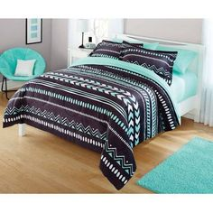 Tribal-Chevron-Wild-Bedding-Comforter-Set-Funky-Look-Grey-Mint-Green-White-Tones