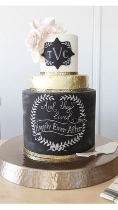 "Romantic chalkboard cake with gold and blush accents. ""And they lived happily ever after..."" #thevintagecakenj #weddingcake"