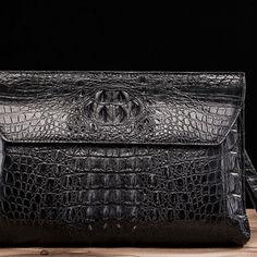 Crocodile long bi-fold wallet, designer business crocodile clutch wallet for men, all are made of genuine crocodile skin. Envelope Clutch, Clutch Wallet, Leather Wallet, Alligator Wallet, Business Briefcase, Large Wallet, Handbag Organization, Crocodile Skin, Phone Holder