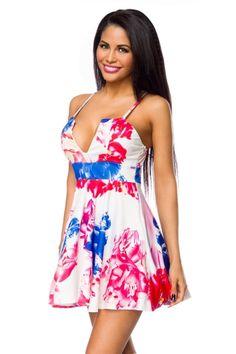 Rochie de vara, in nuante de alb, rosu si albastru, cu bretele subtiri - Rochie scurta, cu imprimeu floral, decolteu adanc si bretele subtiri. Colectia Rochii de primavara vara de la  www.rochii-ieftine.net