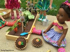 how to make wellie wisher mud pies Girl Doll Clothes, Doll Clothes Patterns, Barbie Clothes, Doll Patterns, Dress Patterns, Ag Dolls, Girl Dolls, Wellie Wishers Willa, American Girl Crafts