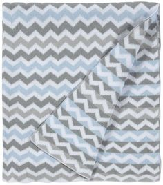 American Baby Company 100% Cotton Sweater Knit Blanket - Blue Zigzag