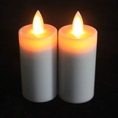 Ryking 15 X 38 Classic Pillar Moving Wick Flameless LED Candles with Timer Feature Ivory Color  Set of 2 * Read more  at the image link.