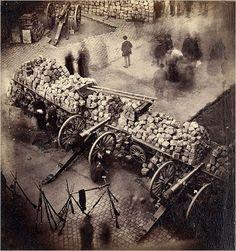 The barricades of the Commune at the corner of de l'Hôtel de Ville and the rue de Rivoli, April 1871, photographed by Pierre-Ambrose Richebo...