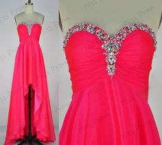 Sweetheart long chiffon with crystal beading by missprom on Etsy, $139.00