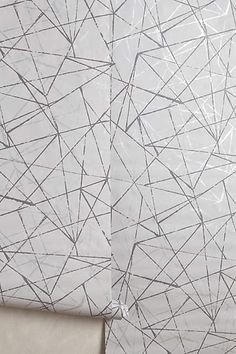 Metallic Angles Silver Wallpaper