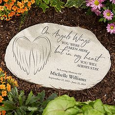 Buy On Angels Wings Personalized Memorial Garden Stones you can customize with your own text. Add name, memorial dates & other custom details to create a beautiful memorial keepsake gift. Memorial Garden Stones, Memorial Flowers, Memorial Garden Plaques, Memorial Gardens, Tribal Tattoos, Celtic Tattoos, Dreamcatcher Tattoos, Dove Tattoos, Wing Tattoos