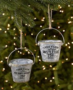 Decorate your Christmas tree in farmhouse style with this Set of 2 Metal Bucket or Pitcher Ornaments. These miniature buckets or pitchers are all distressed for a country loo Christmas Tree Themes, Holiday Tree, Christmas Tree Ornaments, Christmas Crafts, Christmas Time, Diy Ornaments, Country Christmas, Christmas Stuff, Christmas Ideas