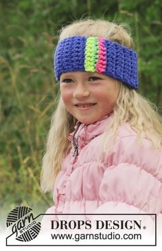 New pattern: #crochet head band with stripes in #DROPSPeak by #DROPSDesign.