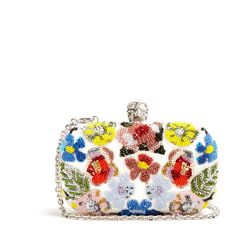 Alexander McQueen Floral-embellished leather box clutch ($2,325) ❤ liked on Polyvore featuring bags, handbags, clutches, alexander mcqueen, borse, purses, white multi, hand bags, man bag and white leather handbags