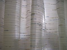 Curtains White with narrow blue and beige lines by ShirleysAttic, $10.00