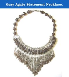 Gray Agate Statement Necklace. Gray agate statement necklace. Designed in Manhattan and hand-crafted in our own factory in China. Taolei showcase and sell their fabulous designs at major fashion capitals around the world -- New York, Paris, Milan. Besides new designs each season, we consistently add new styles to keep pace and create in line with current trends. Quality is our number one concern, we consistently improve our technology to keep our sterling from tarnish, our gold plate to…