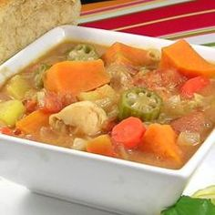 Zimbabwean Chicken and Vegetable Soup Allrecipes.com - THIS IS SO YUMMY!  I was pleasantly surprised...(I upped the spiciness some too)