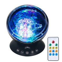 LED Ocean Wave Night Light Projector, OG-EVKIN 7 Colors Light Show Projection White Noise Machine, Remote Control Lights and Sounds Therapy Fit for Indoor Kids Bedroom Party Dating Mood Christmas *** Want additional info? Click on the image. (This is an affiliate link and I receive a commission for the sales)