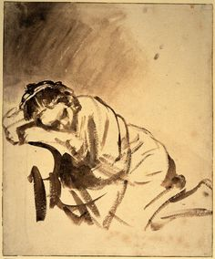 "Rembrandt (1606-1669)  Hendrickje sleeping  Brush with brown ink  c1655  20.3 x 24.6 cm  (7.99"" x 9.69"")  British Museum (London, United Kingdom)"