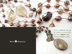 SALE*大粒スモーキークォーツ&クォーツinピンクトルマリン&淡水真珠*シルクネックレス - +---天然石&K14gf*シルクコードアクセサリーBluemoon--+