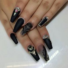 Matte black lace design with Swarovski crystals nail art ❤️