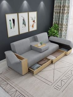 Small multifunction sectional sofa with storage boxes - living room furniture sectional Sofa Bed Design, Living Room Sofa Design, Bedroom Furniture Design, Home Room Design, Sofa Furniture, Modern Furniture, Small Living Room Designs, Small Living Room Storage, Corner Sofa Design