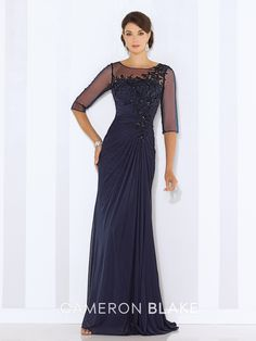 Cameron Blake by Mon Cheri - 116663 - Stretch mesh and tulle sheath with illusion three-quarter length sleeves, illusion bateau neckline, gathered bodice with hand-beaded lace appliqués, beaded illusion keyhole back, side draped skirt with center back gathers and sweep train.