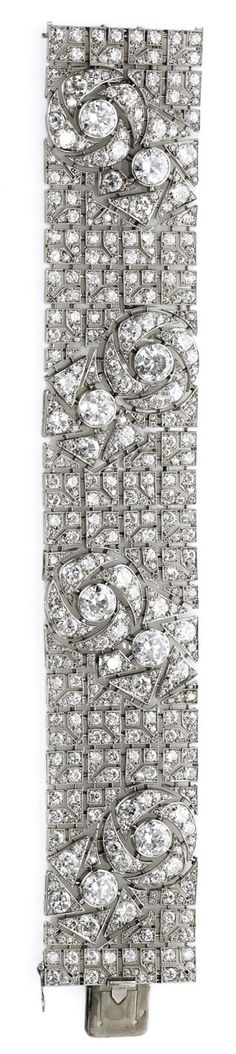 Boucheron ~ Art Deco diamond bracelet with pattern of stylized roses.circa 1925. Via Diamonds in the Library.