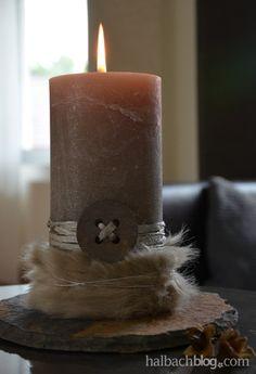 halbachblog I DIY-Idee I Herbst I Kerzenschmuck mit Fell und Bändern