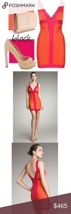 188f76ca3a084 Orange and Pink 'Billie' Bandage Dress HERVE LEGER *NEW WITH TAGS* Herve