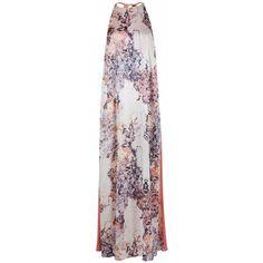 WtR - Elire Silk Print Maxi Dress ($1,035) ❤ liked on Polyvore featuring dresses, gray dress, gray maxi dress, evening maxi dresses, holiday dresses and sleeveless maxi dress