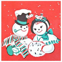 vintage Christmas snowman couple red and turqoise Old Christmas, Vintage Christmas Cards, Christmas Snowman, Christmas Greetings, Christmas And New Year, Vintage Happy New Year, Happy New Year Cards, Welcome December, Buddy The Elf