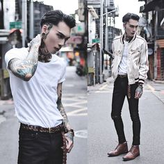 Get this look: http://lb.nu/look/8308471  More looks by IVAN Chang: http://lb.nu/ivan  Items in this look:  Tastemaker 達新美 Vintage Jacket, Asos Top, Topman Jeans, Asos Shoes, Daniel Wellington Watch   #artistic #street #vintage