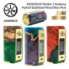 DiscoverMinikin 180w V2, a new box of compact size, powerful and modern!  It works with two 18650 batteries (not included) and includes a full touchscreen and very practical.  Please note each box is unique!  IMPORTANT: Due to the nature of the stabilized wood and the multi-colored resin used in the Asmodus Minikin 2 Kodama the colors and pattern of the item you receive will vary from the photos listed. Photos are just a guide.  Characteristics :    Dimensions: 81 x 42 x 4...