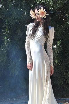 Vintage Wedding Dress 30s Dramatic Liquid Satin Bias Gown with Lace Sleeves, Train and Cut Out Lace Panels XS S