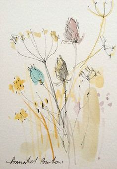"""Original Water Colour and ink Painting """"Dried Plants"""". Signed"""