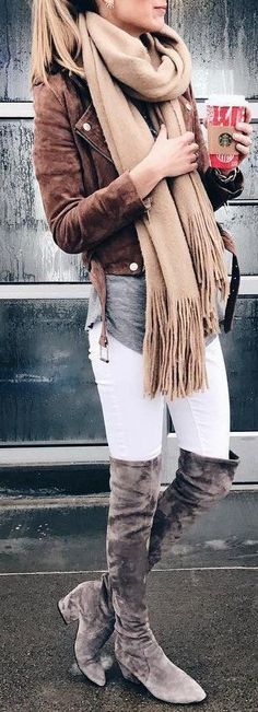 #fall #outfits women's brown suede jacket and brown scarf