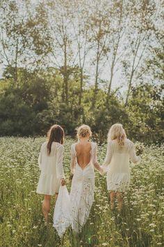 Wedding Inspiration   Summer Bride   Boho   Bridesmaids   Wildflowers www.foreverbride.com