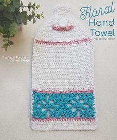 Crochet Designs Floral Hand Towel is a Free Crochet Pattern on The Purple Poncho Crochet by Carolyn Crochet Dish Towels, Crochet Potholders, Crochet Poncho, Free Crochet, Tapestry Crochet, Cotton Crochet, Crochet Scarves, Crochet Designs, Crochet Patterns