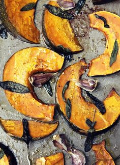 Roast Acorn Squash with Sage - I would serve this with some goat cheese or ricotta on top